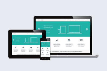 electronic devices: smartphone, tablet and laptop responsive webdesign
