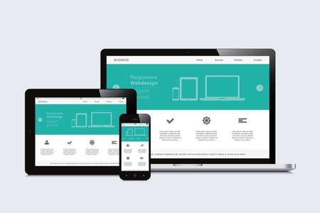 Smartphone, Tablet und Laptop ansprechende Webdesign Vektorgrafik