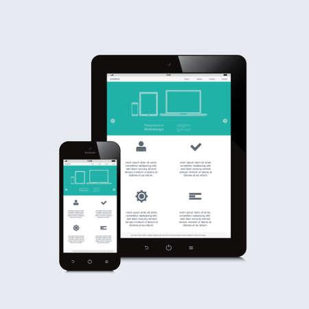 タブレットとスマート フォンの応答性の高いウェブ デザイン  イラスト・ベクター素材