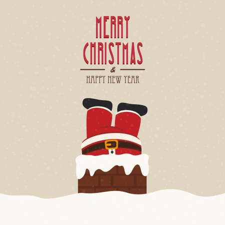 stuck: santa stuck in chimney snow background Illustration