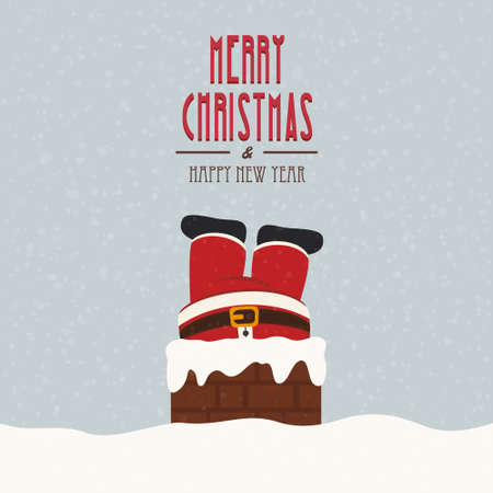 chimney: santa stuck in chimney vintage snow background Illustration