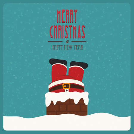 santa stuck in chimney vintage snow background Vector