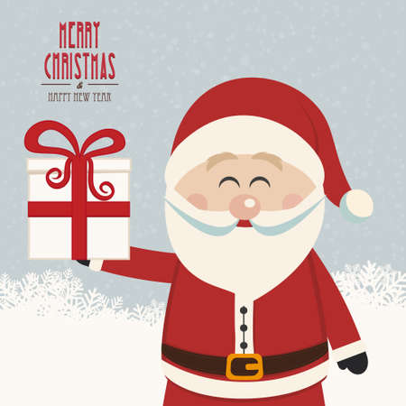 santa claus hold christmas gift snowy background Vector