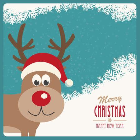 red nose reindeer santa hat snowy winter background Vector