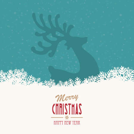 reindeer merry christmas snowy background Ilustracja