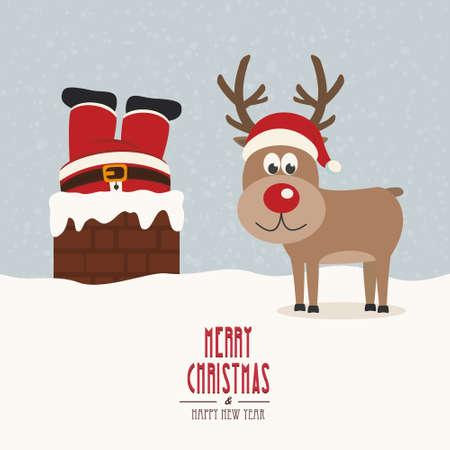 christmas reindeer: santa stuck in chimney vintage reindeer smile snow background