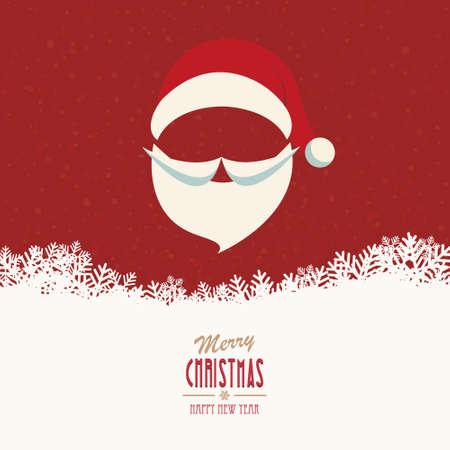 santa hat and beard snowy winter background Illustration