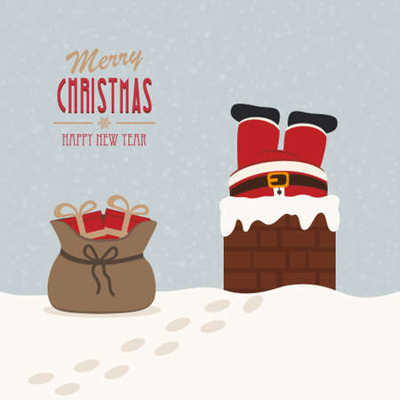 santa stuck in chimney gift bag snow background Vector
