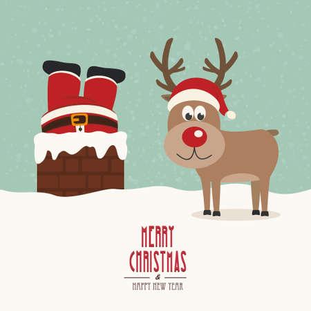 red nose: santa stuck in chimney vintage reindeer smile snow background