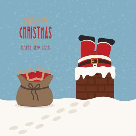 santa in schoorsteen wordt geplakt gift bag sneeuw achtergrond Stock Illustratie