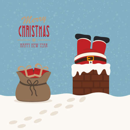 santa stuck in chimney gift bag snow background Illustration