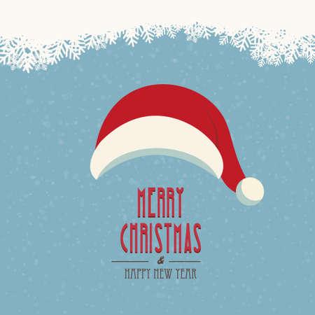 santa hat merry christmas snowy background