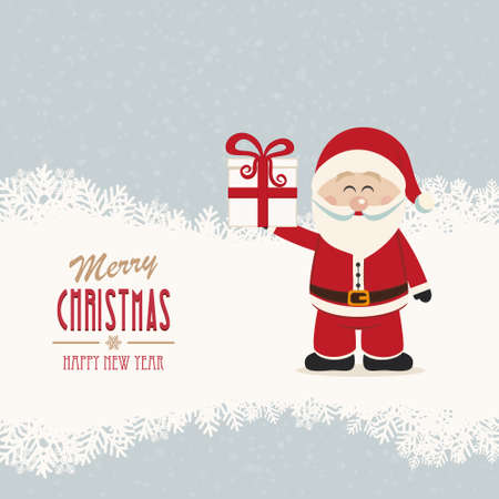 santa claus hold gift winter snowy background Vector