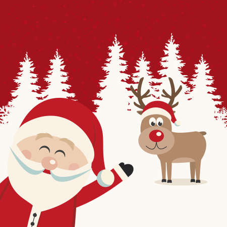 santa wave from side reindeer red nose winter landscape Vector