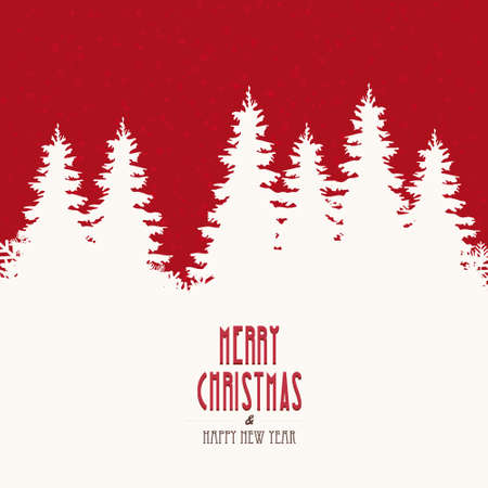 winter scene: merry christmas vintage winter landscape Illustration