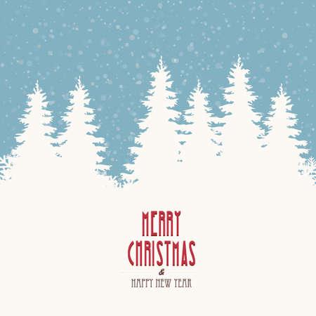merry christmas vintage winter landscape Illustration