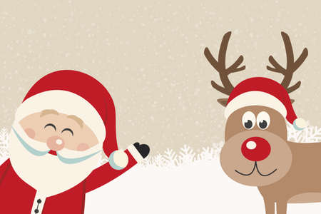 santa wave from side reindeer red nose winter background Vector