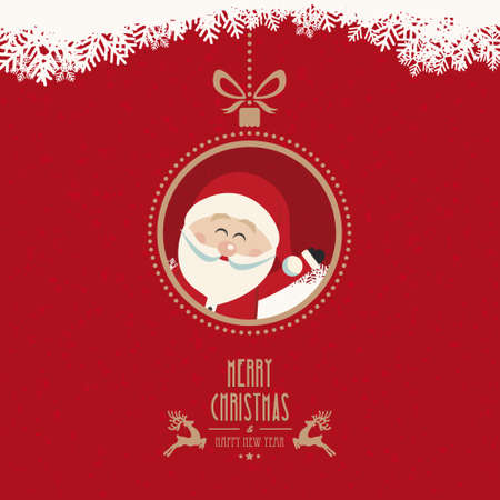 santa claus wave christmas ball snowflakes vintage background Çizim
