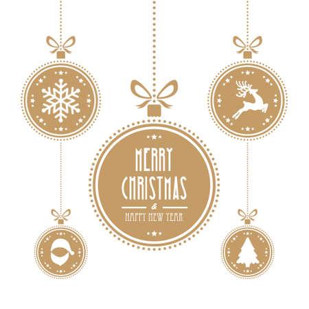 Kerst bal geïsoleerd goud achtergrond Stock Illustratie