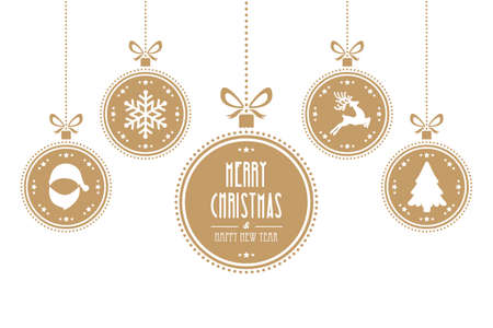 christmas ball gold isolated background Illustration