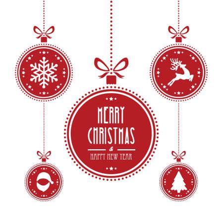 pelota caricatura: bola de Navidad fondo rojo aislado