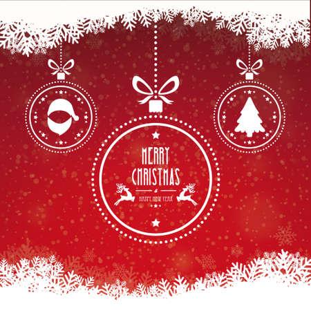 Kerstbal Merry Christmas sneeuwvlokken rode achtergrond