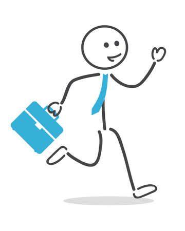strichmännchen: Geschäftsmann mit Aktenkoffer laufen und Krawatte Illustration