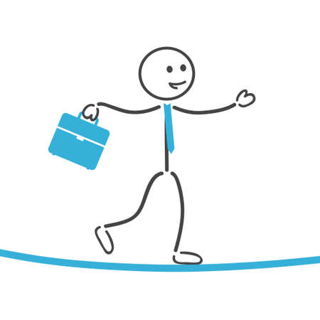 stick figure people: Businessman balance on rope