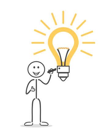 stick figure people: Figure man make bulb on
