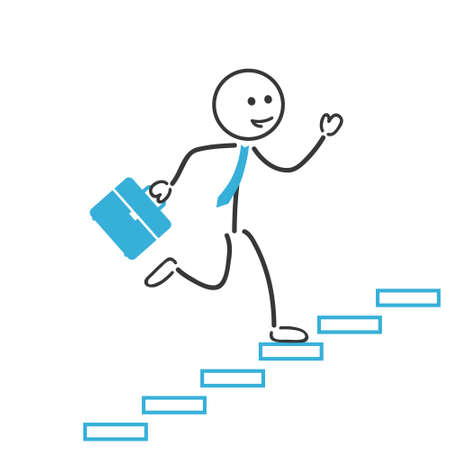 guy with walking stick: business man run up stairs Illustration