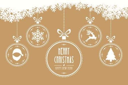 pelota caricatura: bolas de navidad que cuelgan de fondo de oro