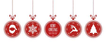 pelota caricatura: bolas de navidad que cuelgan fondo rojo aislado