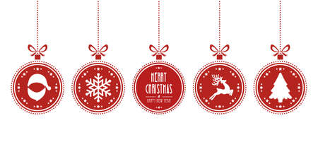christmas decorations: christmas balls hanging red isolated background Illustration