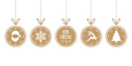 kerstballen opknoping geïsoleerd goud achtergrond