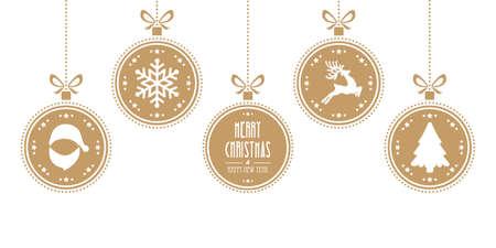 renos de navidad: bolas de navidad que cuelgan de aislados de oro