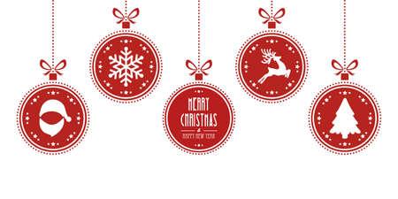 kerstballen opknoping rode geïsoleerde achtergrond