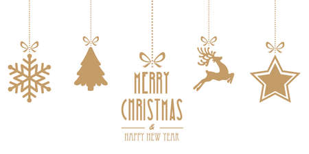 christmas elements hanging gold isolated background
