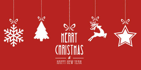christmas elements hanging red background Vectores