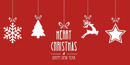 christmas elements hanging red background Illustration