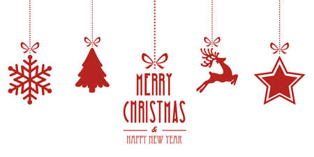 hang: christmas elements hanging red isolated background Illustration