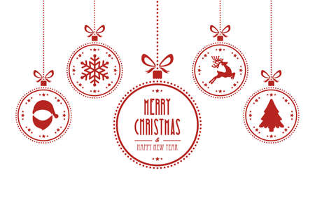 christmas ball red white isolated background Vectores