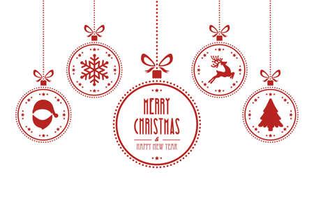 Kerst bal rood wit geïsoleerde achtergrond Stock Illustratie