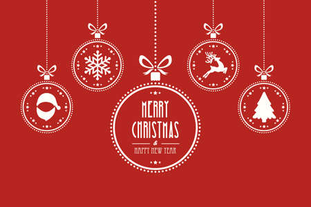 illustration background: christmas ball red background