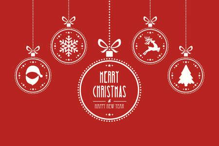 white christmas: Kerst bal rode achtergrond
