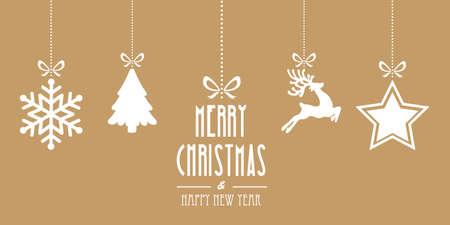 christmas elements hanging gold background 矢量图像