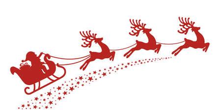 venado: trineo de santa reno silueta roja Vectores