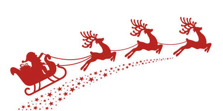 silueta: trineo de santa reno silueta roja Vectores