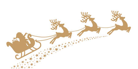 renna: Santa slitta trainata da renne silhouette oro Vettoriali
