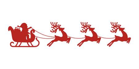 santa slee rendieren rood silhouet