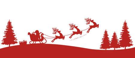 산타 썰매 순록 빨간색 실루엣 일러스트